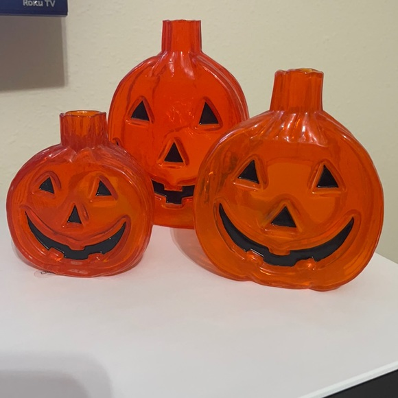Yankee Candle Set of 3 Glass Pumpkin Candle Holder